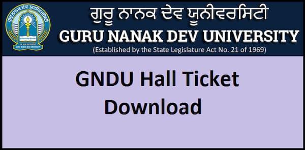 GNDU Hall Ticket